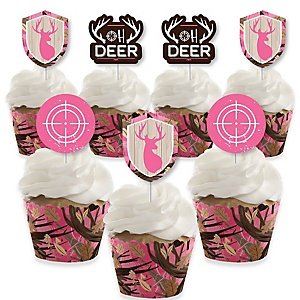 Pink Gone Hunting - Cupcake Decoration - Deer Hunting Girl Camo Party Cupcake Wrappers and Treat Picks Kit - Set of 24