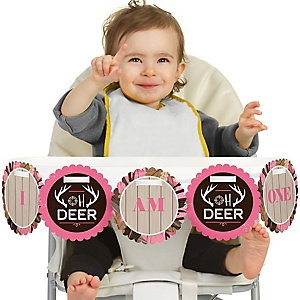 Pink Gone Hunting 1st Birthday - I am One - First Birthday High Chair Banner