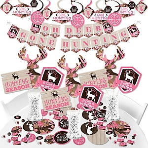 Pink Gone Hunting - Deer Hunting Girl Camo Baby Shower or Birthday Party Supplies - Banner Decoration Kit - Fundle Bundle