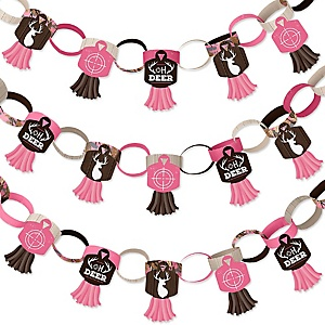 Pink Gone Hunting - 90 Chain Links and 30 Paper Tassels Decoration Kit - Deer Hunting Girl Camo Baby Shower or Birthday Party Paper Chains Garland - 21 feet