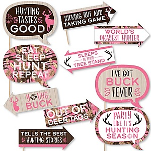 Funny Pink Gone Hunting - 10 Piece Deer Hunting Girl Camo Party Photo Booth Props Kit