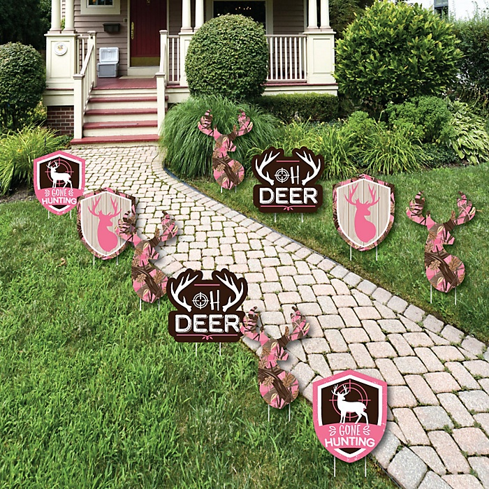 Pink Gone Hunting - Lawn Decorations - Outdoor Deer Hunting Girl Camo Baby Shower or Birthday Party Yard Decorations - 10 Piece