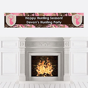 Pink Gone Hunting - Personalized Deer Hunting Girl Camo Party Banner