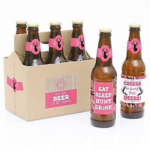 Pink Gone Hunting - Decorations for Women and Men - 6 Deer Hunting Girl Camo Birthday Party Beer Bottle Label Stickers and 1 Carrier