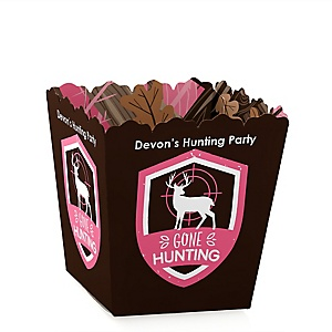 Pink Gone Hunting - Party Mini Favor Boxes - Personalized Deer Hunting Girl Camo Party Treat Candy Boxes - Set of 12