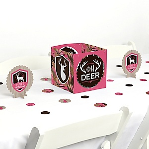 Pink Gone Hunting - Deer Hunting Girl Camo Party Centerpiece & Table Decoration Kit