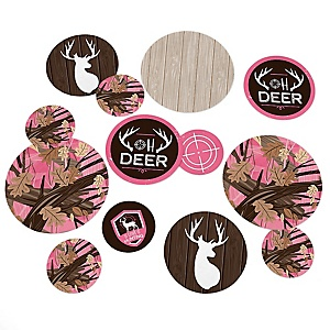 Pink Gone Hunting - Deer Hunting Girl Camo Party Giant Circle Confetti - Party Decorations - Large Confetti 27 Count