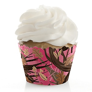 Pink Gone Hunting - Deer Hunting Girl Camo Party Decorations - Party Cupcake Wrappers - Set of 12