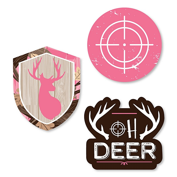 Pink Gone Hunting - DIY Shaped Deer Hunting Girl Camo Party Cut-Outs - 24 ct