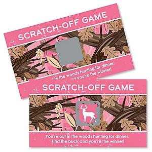Pink Gone Hunting - Deer Hunting Girl Camo Party Game Scratch Off Cards - 22 ct