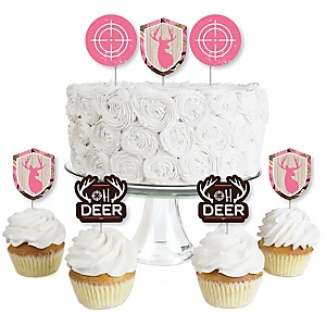 Pink Gone Hunting - Dessert Cupcake Toppers - Deer Hunting Girl Camo Party Clear Treat Picks - Set of 24