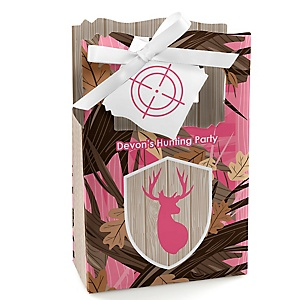 Pink Gone Hunting - Personalized Deer Hunting Girl Camo Party Favor Boxes - Set of 12