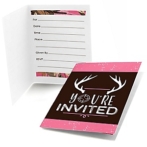Pink Gone Hunting - Fill In Deer Hunting Girl Camo Party Invitations - 8 ct