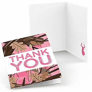 Pink Gone Hunting - Deer Hunting Girl Camo Party Thank You Cards - 8 ct