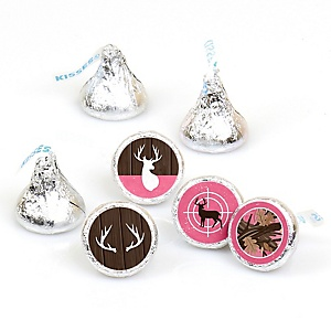 Pink Gone Hunting - Deer Hunting Girl Camo Party Round Candy Sticker Favors - Labels Fit Hershey's Kisses - 108 ct
