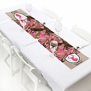 Pink Gone Hunting - Personalized Deer Hunting Girl Camo Party Petite Table Runner