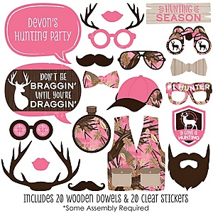 Pink Gone Hunting - 20 Piece Deer Hunting Girl Camo Party Photo Booth Props Kit