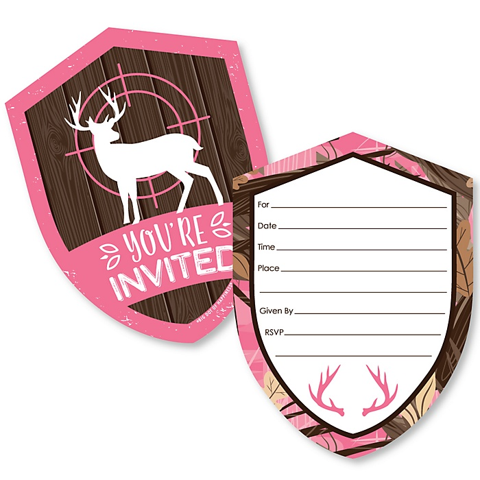 Pink Gone Hunting - Shaped Fill-In Invitations - Deer Hunting Girl Camo Party Invitation Cards with Envelopes - Set of 12
