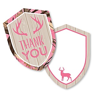 Pink Gone Hunting - Shaped Thank You Cards - Deer Hunting Girl Camo Party Thank You Note Cards with Envelopes - Set of 12