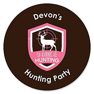 Pink Gone Hunting - Deer Hunting Girl Camo Baby Shower or Birthday Party Circle Sticker Labels - 24 ct