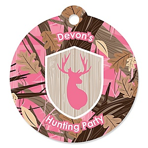 Pink Gone Hunting - Round Personalized Deer Hunting Girl Camo Baby Shower or Birthday Party Tags - 20 ct