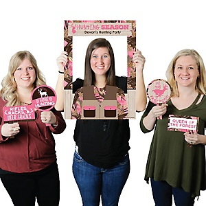Pink Gone Hunting - Personalized Deer Hunting Girl Camo Party Selfie Photo Booth Picture Frame and Props - Printed on Sturdy Material