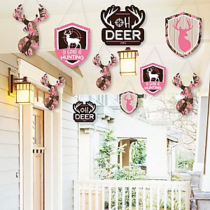 Hanging Pink Gone Hunting - Outdoor Deer Hunting Girl Camo Party Hanging Porch and Tree Yard Decorations - 10 Pieces
