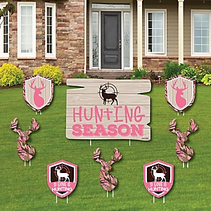 Pink Gone Hunting - Yard Sign and Outdoor Lawn Decorations - Deer Hunting Girl Camo Party Yard Signs - Set of 8