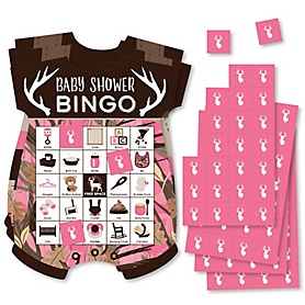 Pink Gone Hunting - Picture Bingo Cards and Markers - Deer Hunting Girl Camo Baby Shower Shaped Bingo Game - Set of 18
