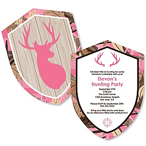 Pink Gone Hunting - Shaped Deer Hunting Girl Camo Baby Shower or Birthday Party Invitations - Set of 12