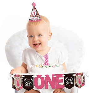 Pink Gone Hunting 1st Birthday - First Birthday Girl Smash Cake Decorating Kit - High Chair Decorations
