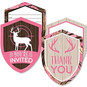 Pink Gone Hunting - 20 Shaped Fill-In Invitations and 20 Shaped Thank You Cards Kit - Deer Hunting Girl Camo Baby Shower or Birthday Party Stationery Kit - 40 Pack