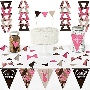 Pink Gone Hunting - DIY Pennant Banner Decorations - Deer Hunting Girl Camo Baby Shower or Birthday Party Triangle Kit - 99 Pieces