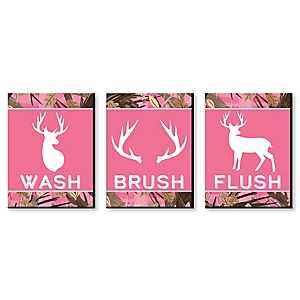Pink Gone Hunting - Kids Bathroom Rules Wall Art - 7.5 x 10 inches - Set of 3 Signs - Wash, Brush, Flush