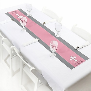 Little Miracle Girl Pink & Gray Cross - Personalized Party Petite Table Runner