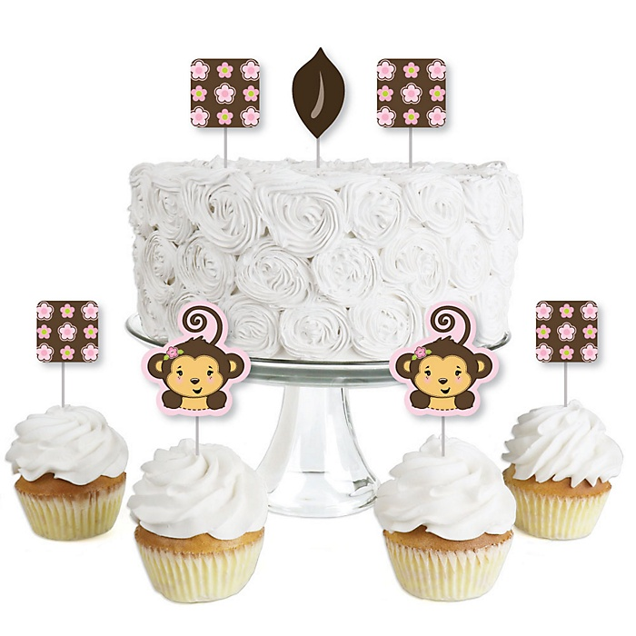 Pink Monkey Girl - Dessert Cupcake Toppers - Baby Shower or Birthday Party Clear Treat Picks - Set of 24