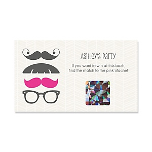 Pink Mustache Bash - Personalized Party Game Scratch Off Cards - 22 ct