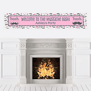 Pink Mustache Bash - Personalized Party Banners
