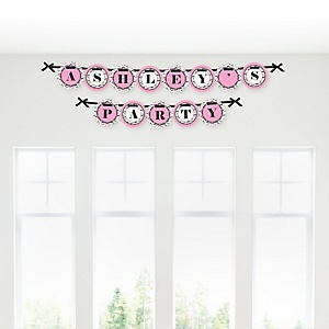 Pink Mustache Bash - Personalized Party Garland Letter Banners