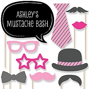 Pink Mustache Bash - Baby Shower Photo Booth Props Kit - 20 Props