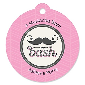 Pink Mustache Bash - Round Personalized Party Tags - 20 ct