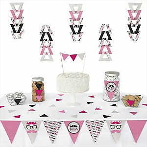 Pink Mustache Bash - 72 Piece Triangle Party Decoration Kit