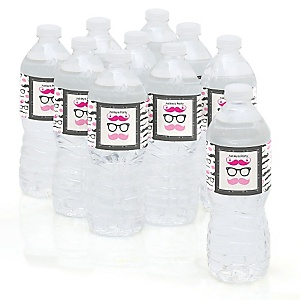 Pink Mustache Bash - Personalized Party Water Bottle Sticker Labels - Set of 10