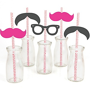 Pink Mustache Bash - Paper Straw Decor - Baby Shower or Birthday Party Striped Decorative Straws - Set of 24