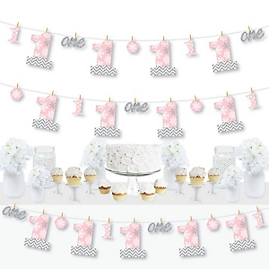 Pink ONEderland - Holiday Snowflake Winter Wonderland First Birthday Party DIY Decorations - Clothespin Garland Banner - 44 Pieces