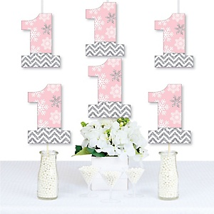 Pink ONEderland - One Shaped Decorations DIY Snowflake Winter Wonderland First Birthday Party Essentials - Set of 20