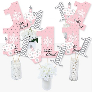 Pink ONEderland - Snowflake Winter Wonderland First Birthday Party Centerpiece Sticks - Table Toppers - Set of 15