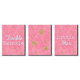 Pink Twinkle Twinkle Little Star - Baby Girl Nursery Wall Art & Kids Room Decor - 7.5 x 10 inches - Set of 3 Prints