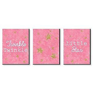 """Pink Twinkle Twinkle Little Star - Baby Girl Nursery Wall Art & Kids Room Décor - 7.5"""" x 10"""" - Set of 3 Prints"""