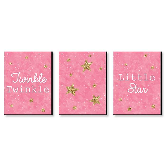 Pink Twinkle Twinkle Little Star - Baby Girl Nursery Wall Art & Kids Room Decor - 7.5 x 10 inches - Set of 3 Prints